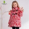 2017 Impresión Floral Muchachas Largas Abrigos de Invierno Y Chaquetas Niños Outwear Caliente Abajo Chaqueta Niñas Ropa Parkas Ropa de Bebé Niñas