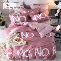 Slowdream NO.1 Bedspread Pink Duvet Cover Bed Sheet Pillowcases Striped Bed Linen Set Comfort Cover Bedspread Linens Single Twin