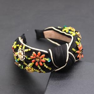 Image 5 - Bohemian fashion flowers wrapped personality dance headband Colorful crystal flower geometric metal versatile headband 865