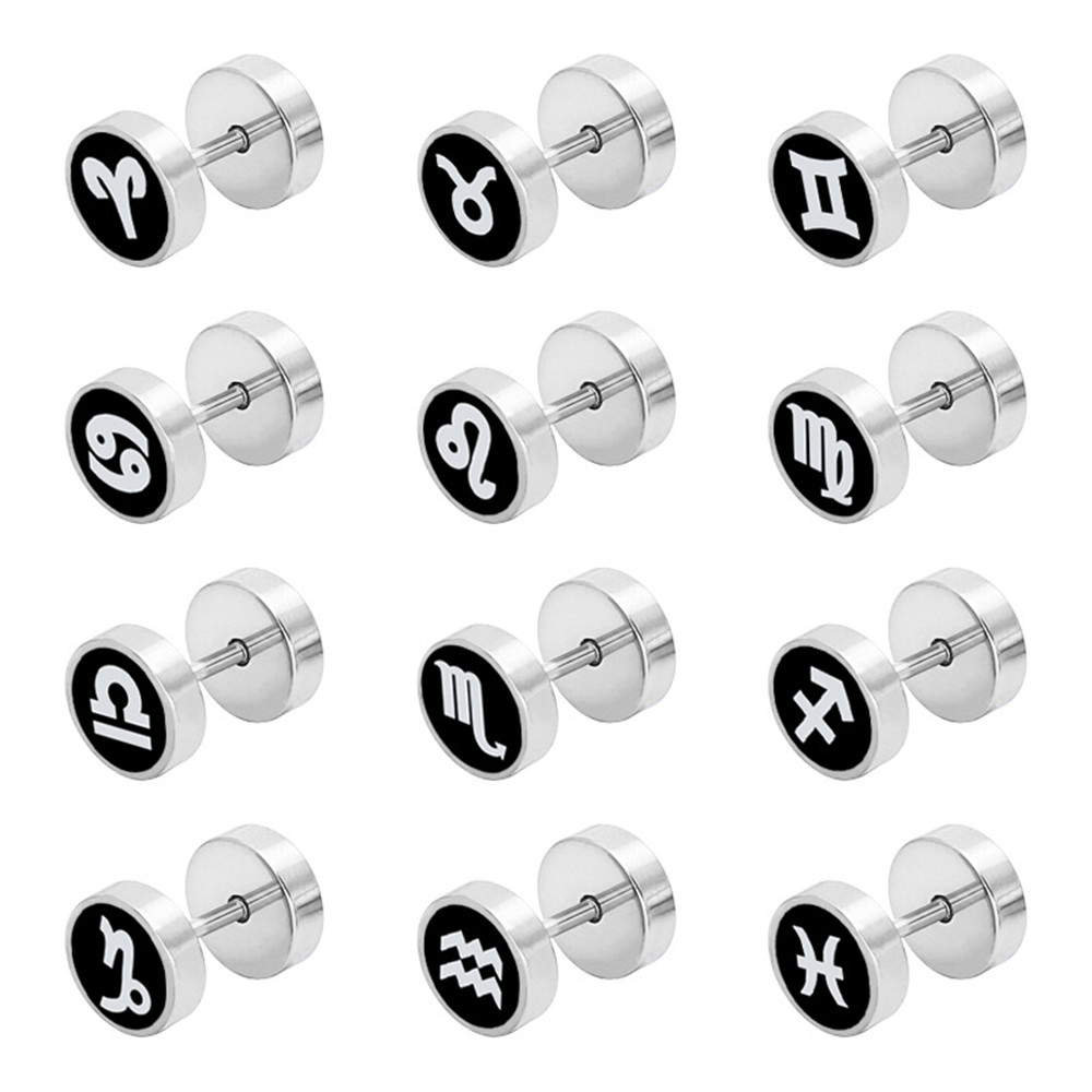 Trend women 39 s earrings fashion jewelry Korean personality round twelve constellation stainless steel earrings for men gifts in Stud Earrings from Jewelry amp Accessories
