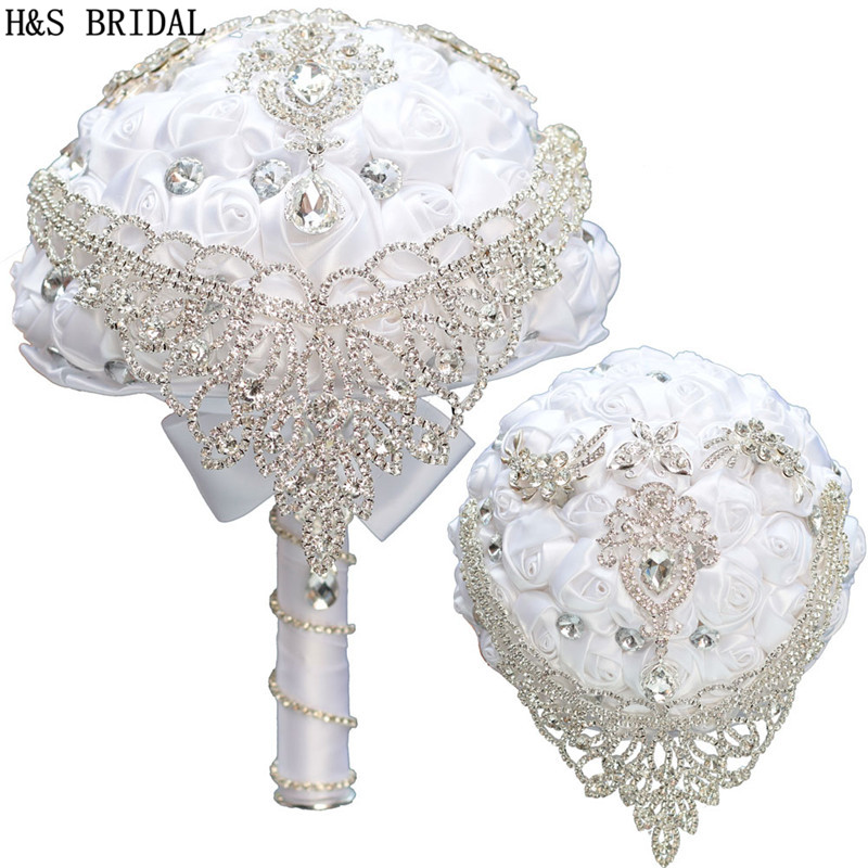 H&S BRIDAL White Crystals Crown Wedding Flowers Crystals Bridal Bouquets Artificial Wedding Bouquets Buque De Noiva 2019