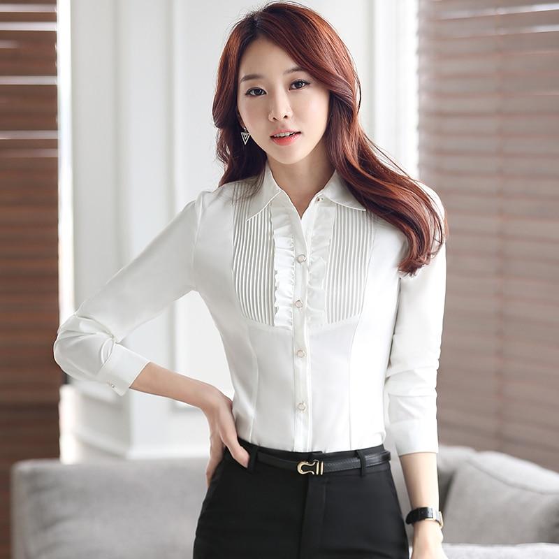 Lenshin Womens Clothing Ruffles Long Sleeve Blouse Office Lady