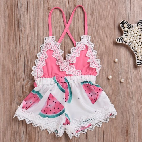 2019 New Summer Newborn Baby Girl Watermelon   Rompers   Strappy Lace Backless Jumpsuit Toddler One-Pieces   Romper   Casual Outfit