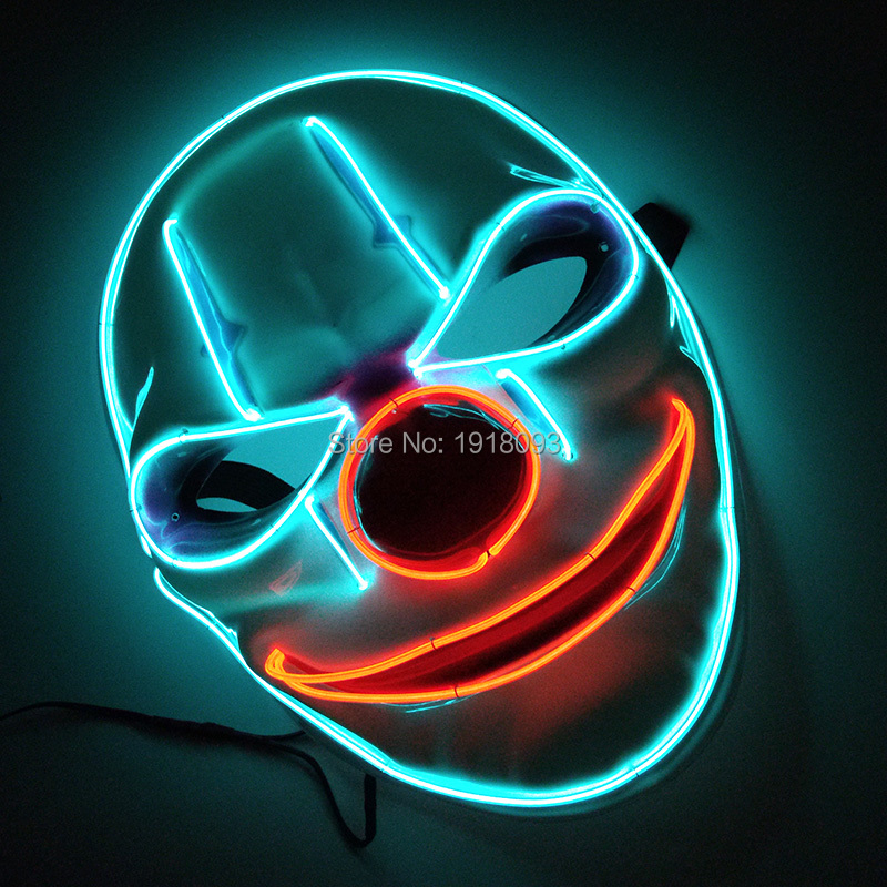 Funny Blinking Old man clown Mask EL Wire Glowing Neon Light Mask face halloween mask Party Decor