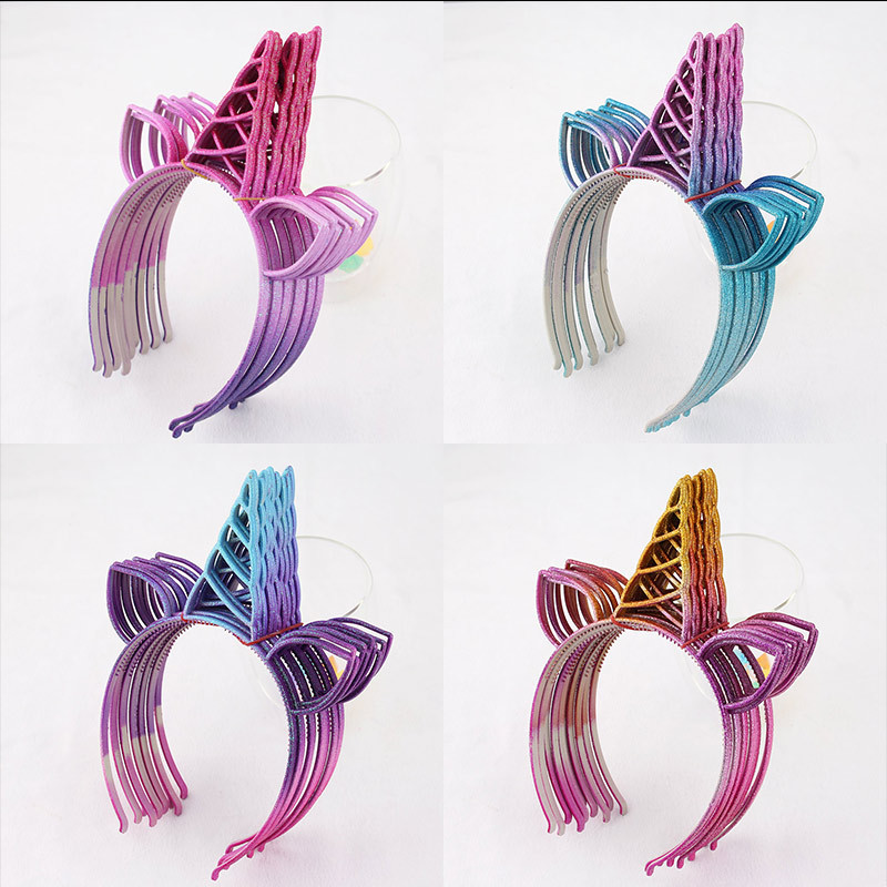 Glitter Unicorn Hairband Hair-Accessories Hair-Hoop Cat Party Shiny Girls Plastic 12pcs/Lot title=