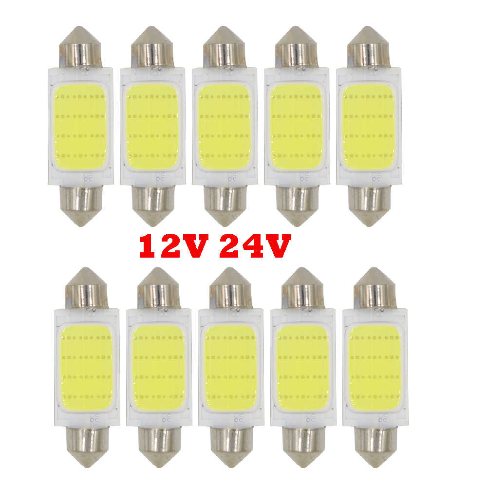 YSY 10X Truck LED Auto Dome light Festoon COB 12 Chips 36mm 39mm 41mm C5W C10W Interior Light Licence Plate Light 12V 24V