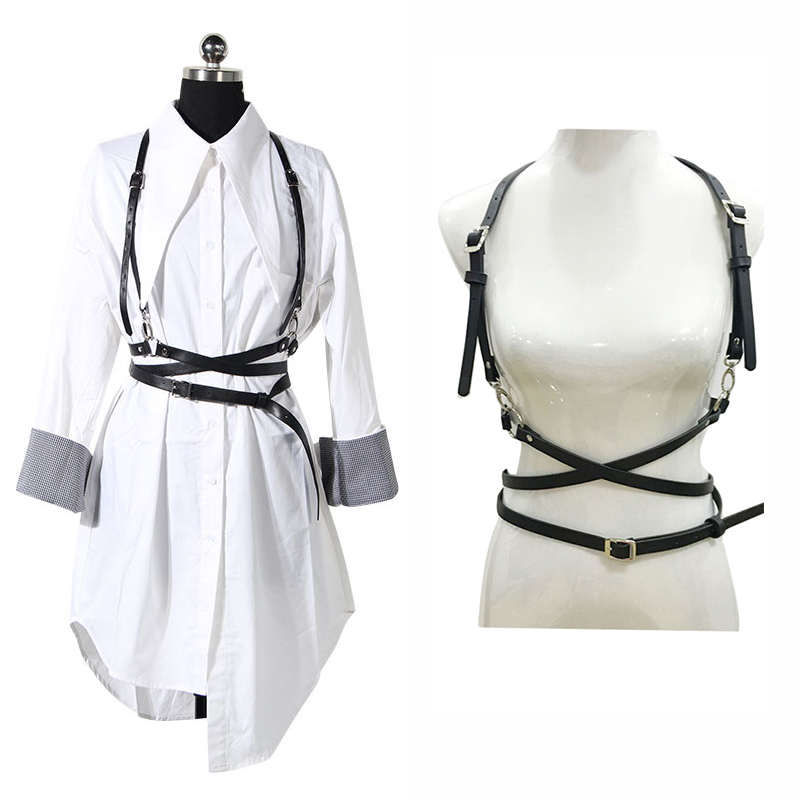 Seabigtoo Retro Punk Strap Girdle Sexy Women   Belt   Decorative Shirt Dress PU leather Smooth Buckle Vest Harness   Belt   For Women
