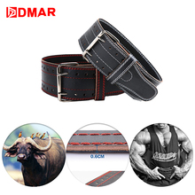 DMAR Cowhide Weightlifting Belt Fitness Gym Crossfit Waist Protector Dumbbell Barbell Power lifting Support Training Equipment недорого