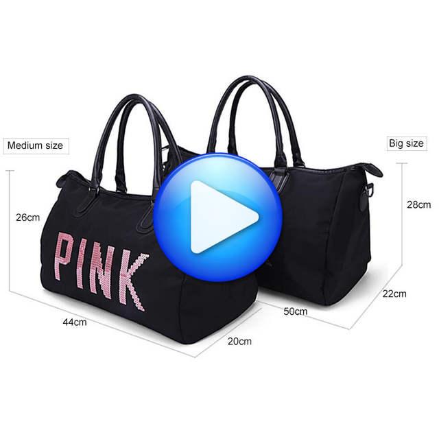044de2232030 placeholder Big Capacity Women Men Sport Bag Designer Metal Sequins PINK  Letters Gym Fitness Sports Bag Handbag