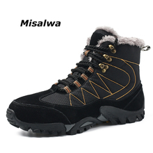 Misalwa Men Boots Winter With Fur 2019 Warm Snow Boots Work Shoes Men Footwear Classic Rubber Ankle Boots 38-47 недорого