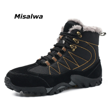 Misalwa Men Boots Winter With Fur 2019 Warm Snow Boots Work Shoes Men Footwear Classic Rubber Ankle Boots 38-47