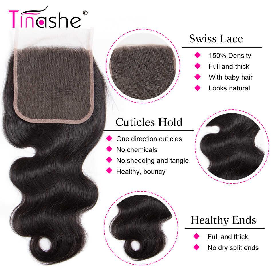 Tinashe Haar 5x5 Vetersluiting Remy Human Hair Gratis/Midden/Three Part Braziliaanse Body Wave Haar zwitserse Kant Sluiting
