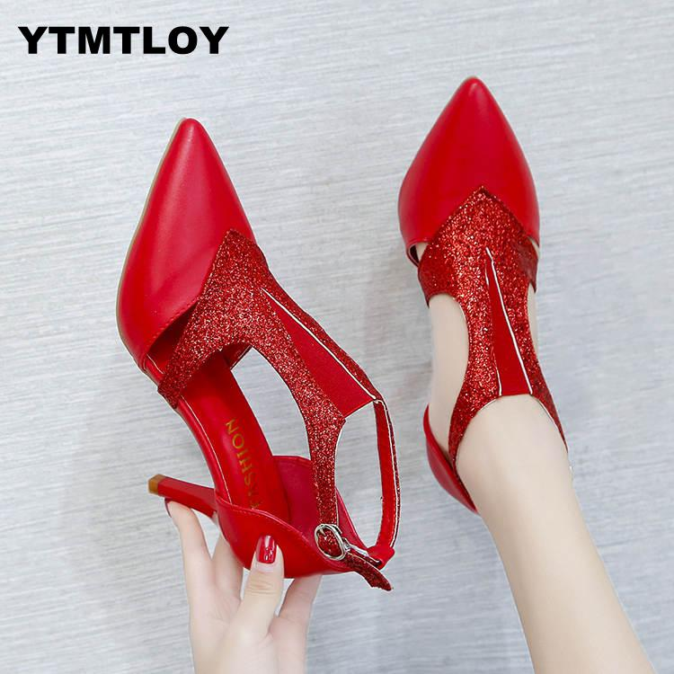 2019 Summer Shoes Woman Pumps High Thin Heels Pointed Toe Rhinestone Bling Gladiator Pumps Party Sexy Shoes Gold  Prom Shoes