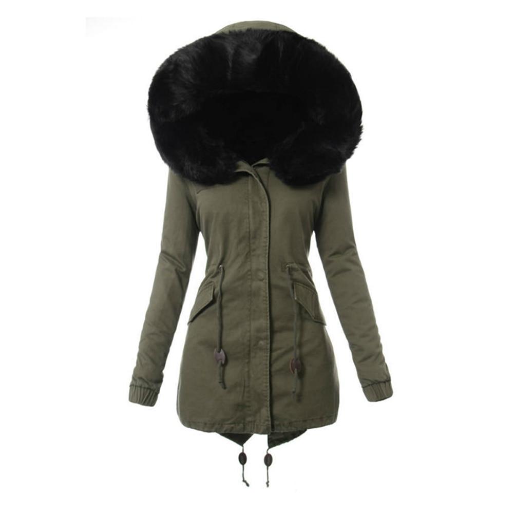 Warm Outwear 2018 Fit Thicken Long Winter Sleeve Hooded Coat Slim Women Faux Fur FqafTxna5w