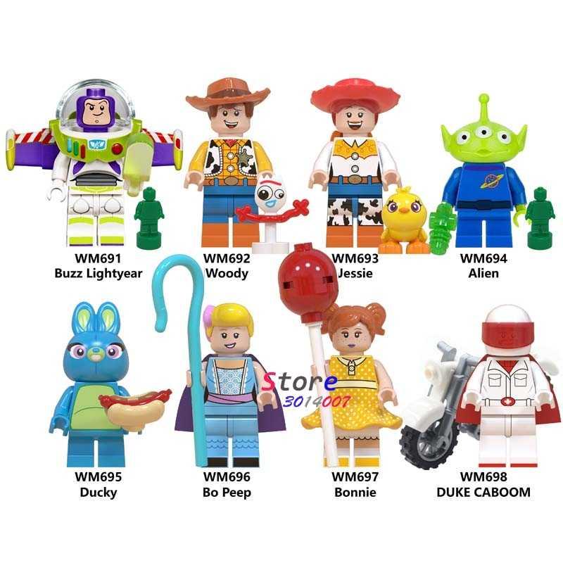 Único Toy Story Buzz Lightyear Woody Jessie 4 Ducky Peep Bo Duke Caboom Alienígena Hamm Sonic Building Blocks