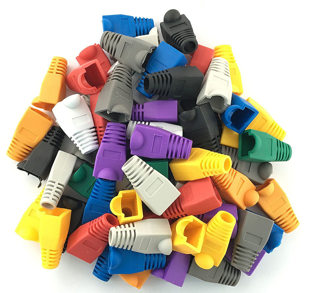 100 Pcs Mixed Color CAT5E CAT6 RJ45 Ethernet Network Cable Strain Relief Boots Cable Connector Plug Cover(China)