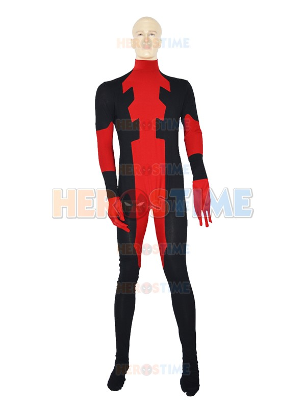 Custom Made Deadpool Cosplay Costume Zentai Red and Black Mens Adults Kids Boys Lycra Spandex X-men Deadpool Halloween Catsuit