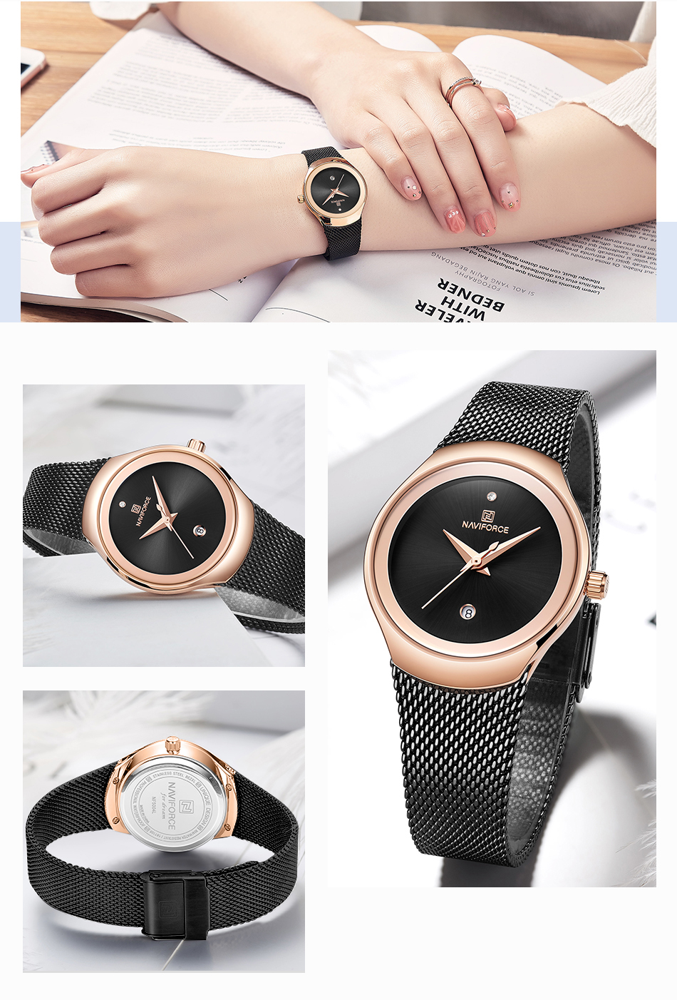 NAVIFORCE Women's Watches Fashion Girl Wristwatch Luxury Quartz Watch Women Stainless Steel Mesh Bracelet Clock Bayan Kol Saati (9)