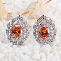 Classic Recommend  Wholesale Orange Cubic Zirconia Jewelry Trendy Silver Plated Earrings R680
