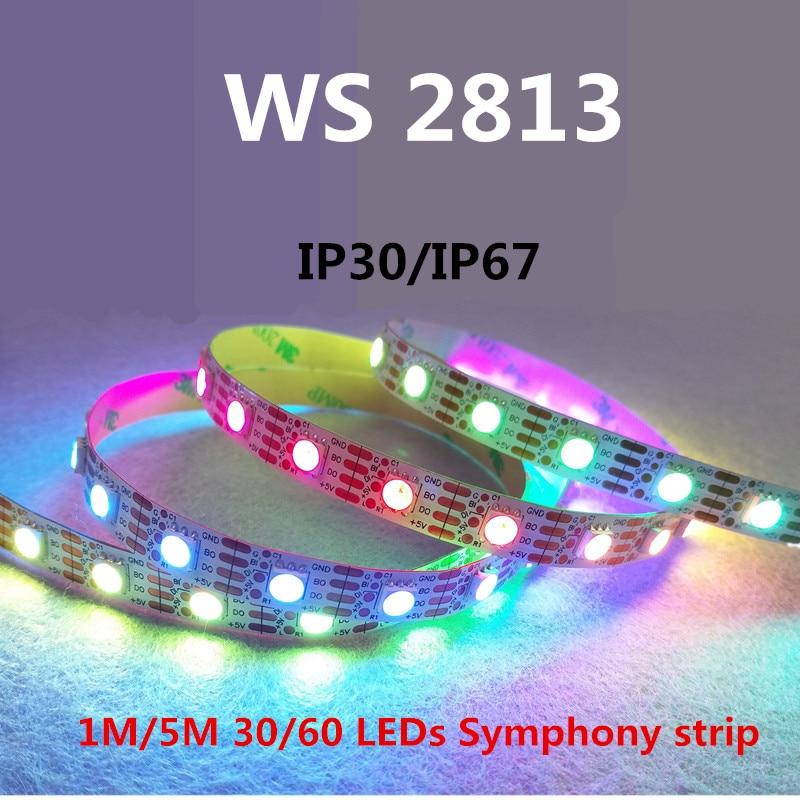 LED WS2813 1m / 4m / 5m Jauns produkts WS2813 Smart LED pikseļu sloksne, IP30 / IP67 DC5V melns / balts PCB, 30/60 LED / m IC