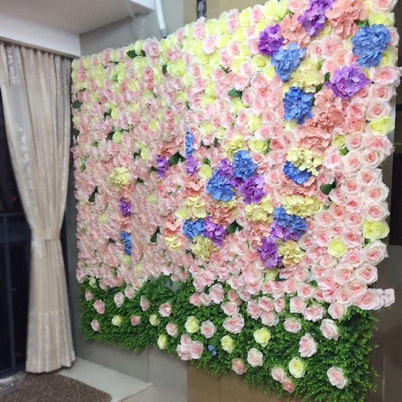DIY 도로는 결혼식 3 차원 꽃 벽에 의하여지도했다 인공 장미 꽃 모란 실크 장식적인 꽃 호텔 배경 벽 장식