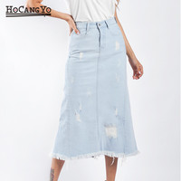 Women Denim Skirt Summer Stretch Midi Denim Skirts Women High Waist Cotton Jeans Skirt Tassels Faldas Mujer Moda 2019 Plus Size