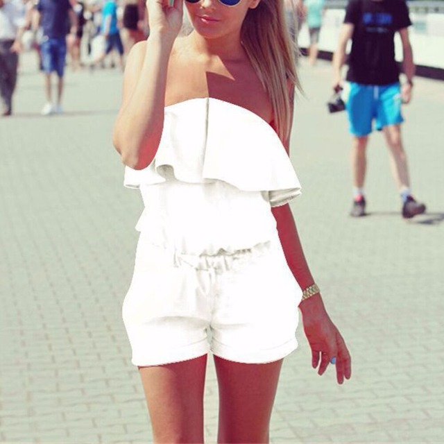 Off Shoulder Strapless beach jumpsuit