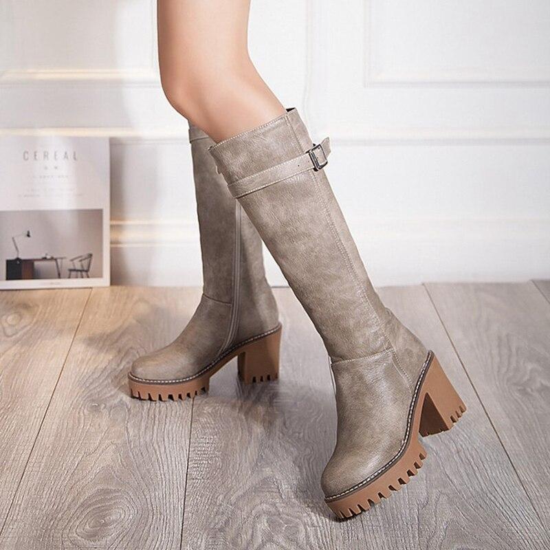 601c79cdb2529 BLXQPYT Plus invierno de las mujeres de la venta zapatos rodilla botas más tamaño  grande alta calidad del dedo del pie zapatos mujer Otoño Invierno botas ...