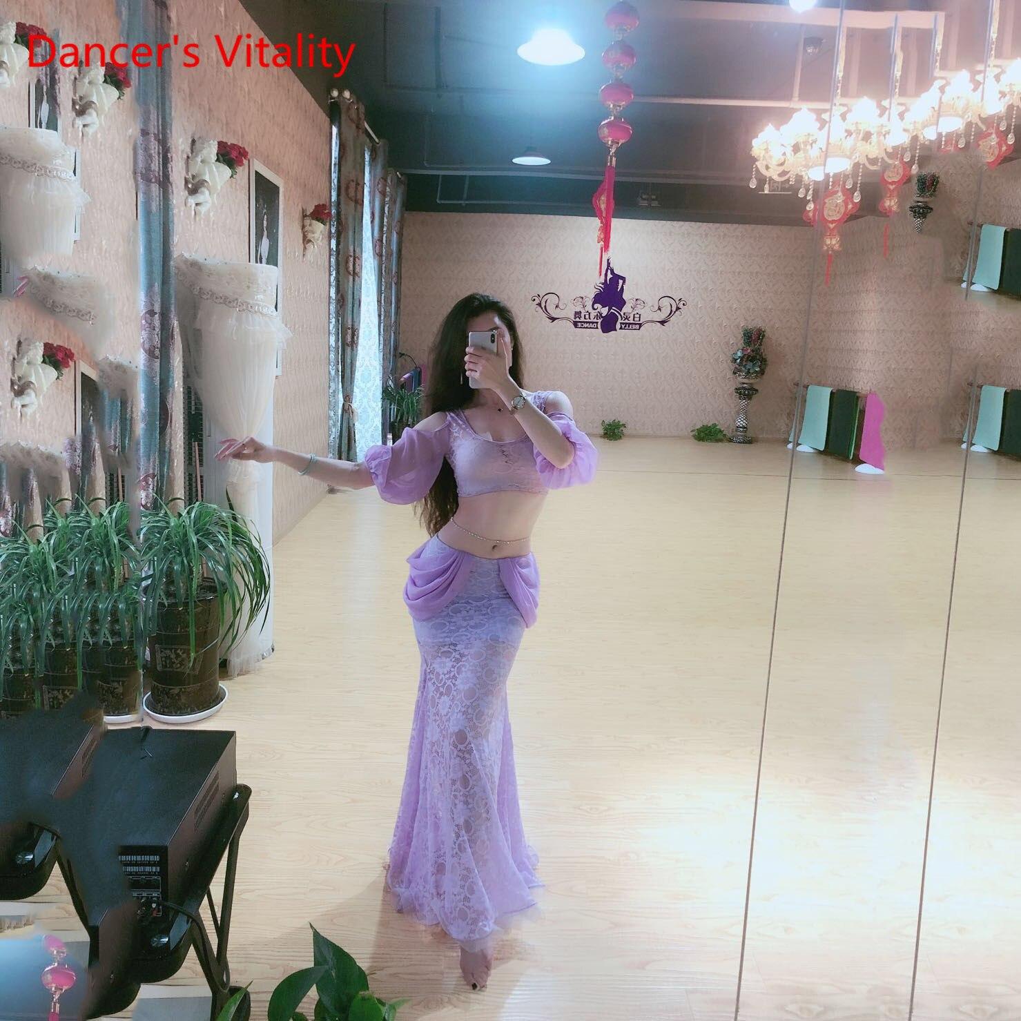 Summer 2 Piece Women Lace Practice Clothes Middle Sleeve Top Long Lace Skirt Dancer Performance Show Wear Blue Purple M L