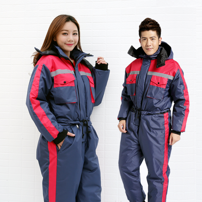 Winter work clothing thick warm cotton padded overalls antifreeze cold waterproof men women outdoors thermal protection