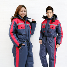Winter work clothing thick warm cotton padded overalls antifreeze cold waterproof men women outdoors thermal protection uniforms(China)