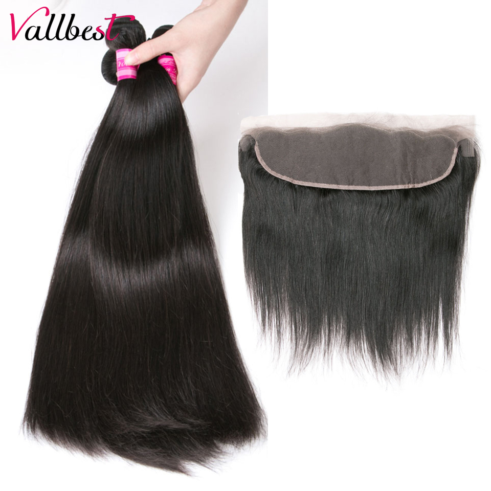 Vallbest Straight Hair With Lace Frontal 100% Human Hair 3 Bundles With Closure 4X13 inch Natural Black Remy Hair Weave 4 Pieces