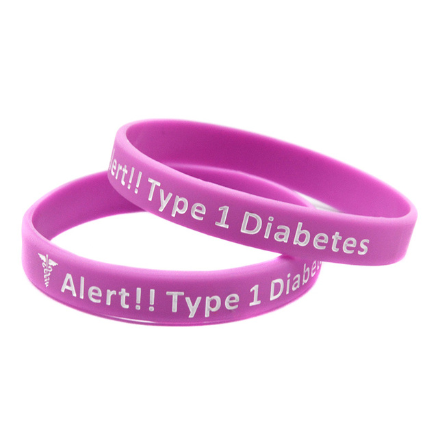 Onebandahouse 50pcs Lot Medical Alert Bracelet Type 1 Diabetes Insulin Dependent Silicone Wristband