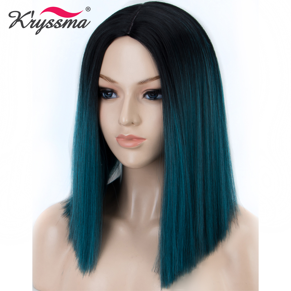 Short Bob <font><b>Wig</b></font> Ombre <font><b>Wig</b></font> with Dark Roots to Light Blonde Straight Synthetic Hair <font><b>Wigs</b></font> for Women Black Roots Heat Resistant Fiber