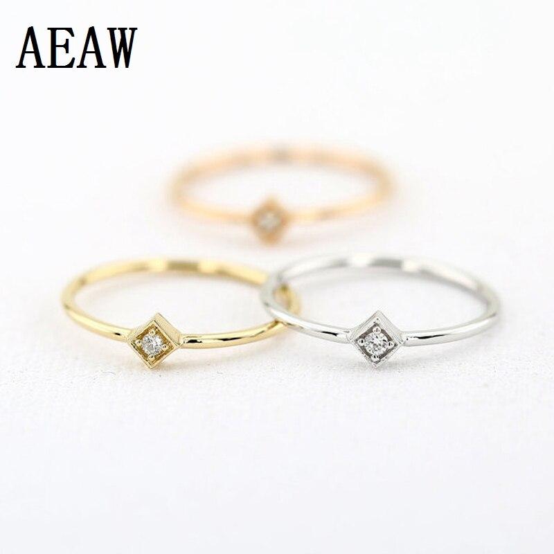 Solitaire Бриллиант круглой огранки кольцо 100% натуральный настоящий алмаз кольцо 14 к белый/желтый/розовый Золотой подарок для нее