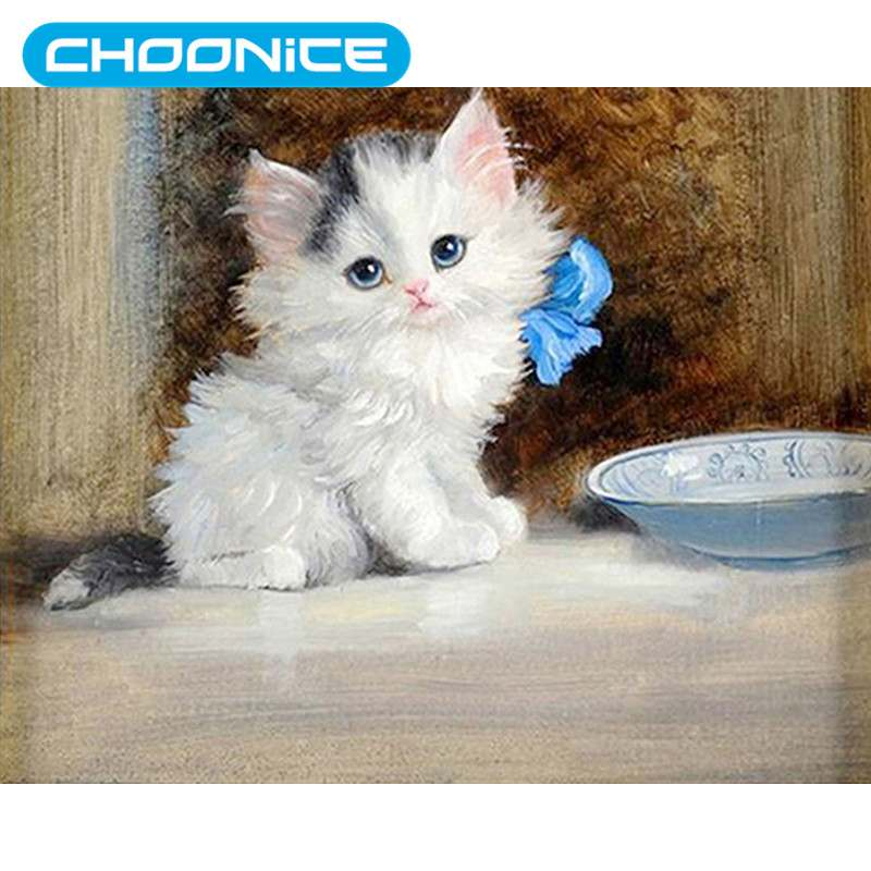 Cat Diamond Painting Little White Cat Blue Flowers DIY 3D Diamond Embroidery Small Animals Cross Stitch Pokemon Paintings Mosaic