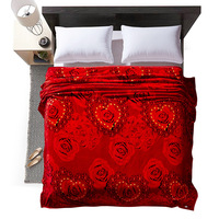 Cozzy Red Rose Flowers Extra Soft Brushed Coral Fleece Blanket On Bed Or Sofa For All