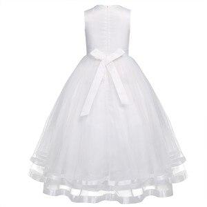 Image 3 - TiaoBug Blume Mädchen Kleider Heilige Kommunion Kleid Weiß Blau Tüll Vestidos Pageant Kleider Für Kleine Mädchen Ballkleid 2 14Y