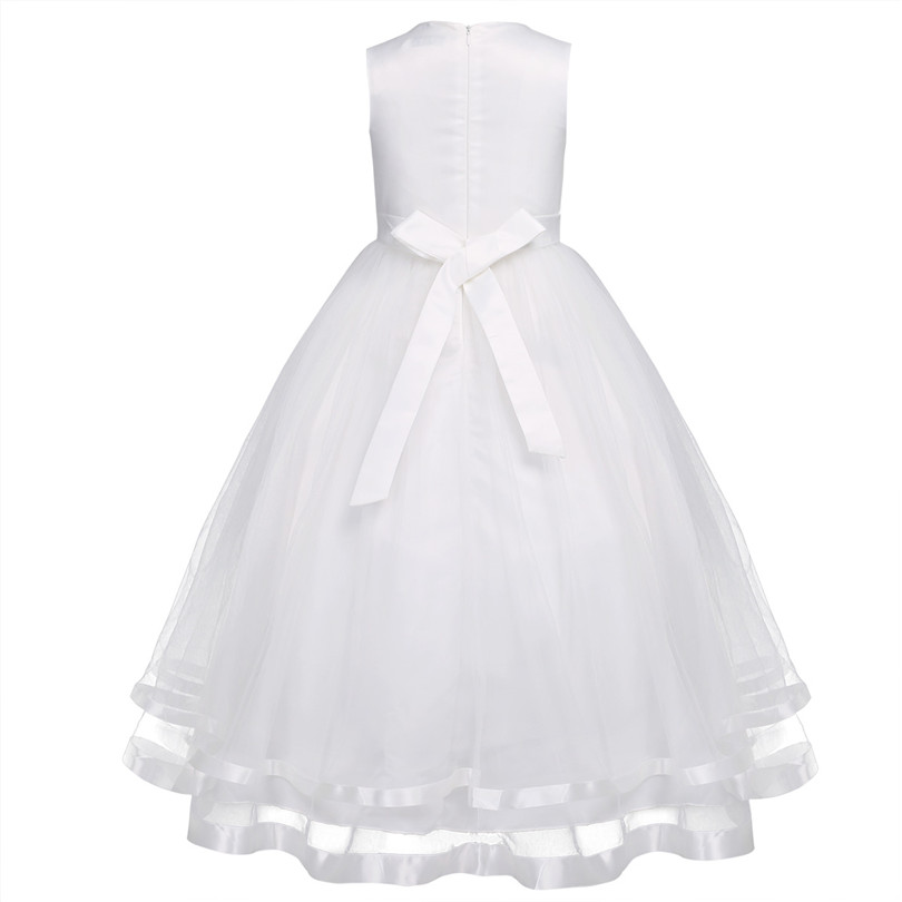 Image 3 - TiaoBug Flower Girl Dresses Holy Communion Dress White Blue Tulle Vestidos Pageant Dresses For Little Girls Ball Gown 2 14Y-in Flower Girl Dresses from Weddings & Events