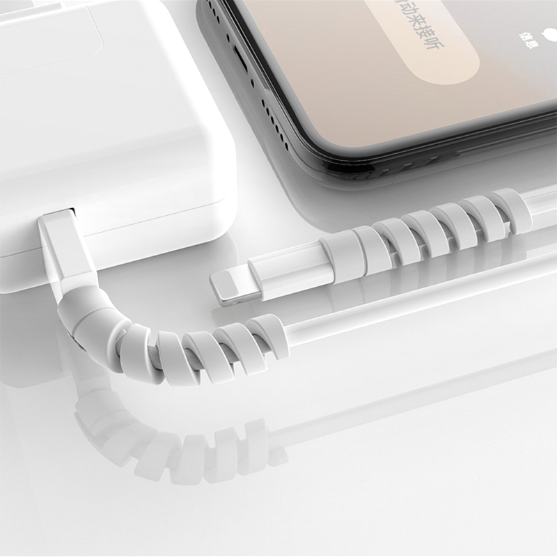 Cable Protector for iPhone XS X 8 7 6 Spring Twine Bobbin Winder Data Line Cord Case Saver Cover Coque Rope Protection Earphone
