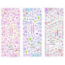 3 упаковки/лот мозаика Радужный цветок пузырь татуировки для ногтей наклейки водная наклейка для ногтей HOT022-024