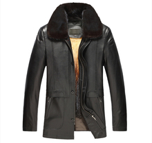 Men's Golden Mink Fur Lined Lambskin Coat Luxury Genuine Fur Coat For Men Black Turn Down Collar Lambskin Jacket
