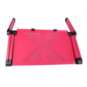 Image 5 - Регулируемый портативный эргономичный складной компьютерный стол из сплава, складной настольный поднос с ковриком для мыши для коммерческих целей