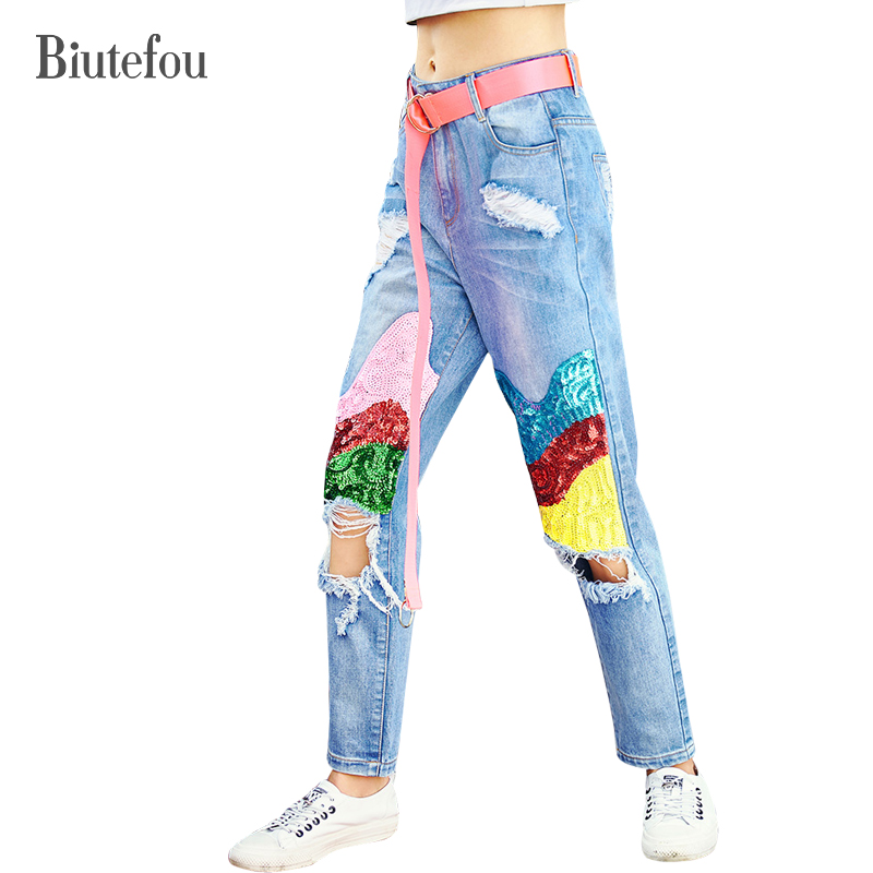 2018 New arrival spring sequined embroidery loose jeans women hole bleached fashion jeans the new spring and summer 2016 korean fashion jeans female hole loose jeans page 6