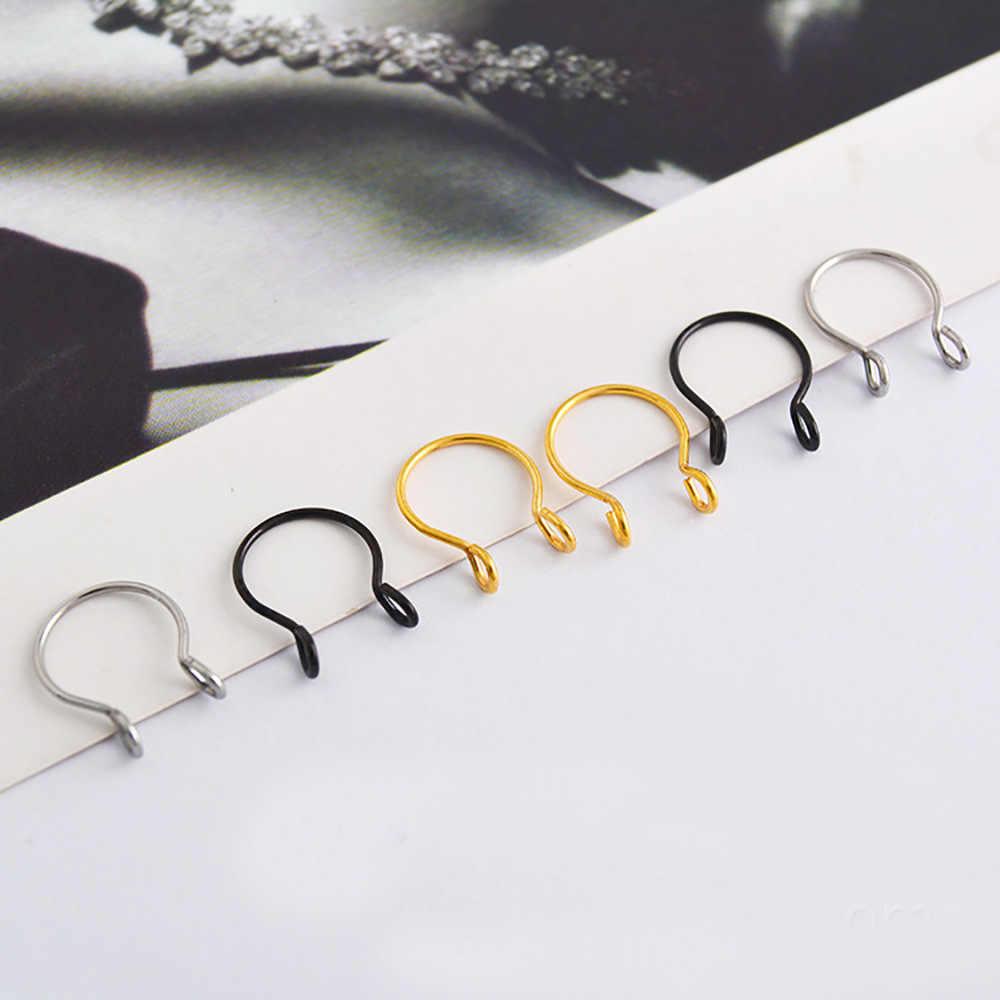 Nueva moda plata Color oro forma de U aros para la nariz perforación de titanio Acero inoxidable anillo de nariz falsa para Mujeres Hombres joyería