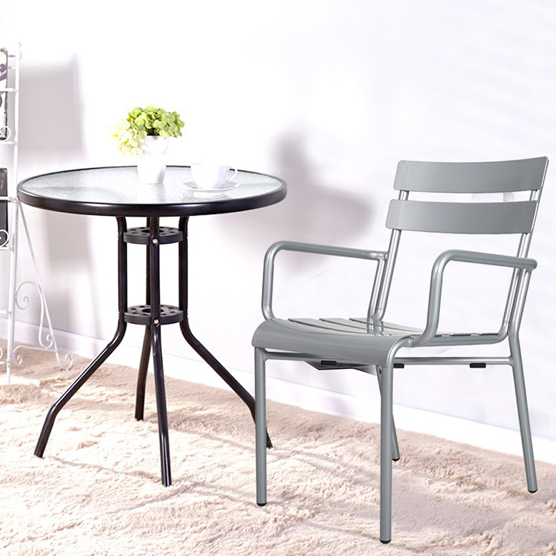 2pcs Aluminum Lightweight Chairs W Armrest Patio Restaurant Balcony Dining Room Stackable Indoor Outdoor Use 3 Colour In Stools Ottomans From