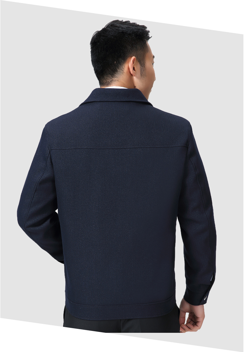Mature Man Casual Jacket Black Navy Blue Solid Colour Basic Coat Male Turn Down Collar Zipper Front Outerwear Mens Spring Autumn Coats (10)