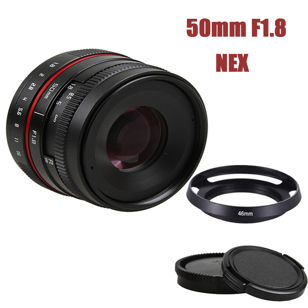 New 50mm f/1.8 APS-C F1.8 camera Lens for SONY E Mount A6500 A6300 A6100 A6000 A5100 A5000 A3000 NEX-7 NEX-6 NEX Series Camera 35mm f1 6 cctv lens c mount camera lens lens hood kit for sony a6500 a6300 a5100 a6100 a6000 a5000 a3000 nex 5t nex 3n nex 6
