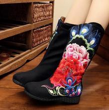 ที่มีคุณภาพสูงผู้หญิงใหม่ของรองเท้าฤดูหนาวสีดำเก่าปักกิ่งจีนPeonyแบบP Terisเย็บปักถักร้อยรองเท้าผ้าใบผู้หญิงรองเท้า