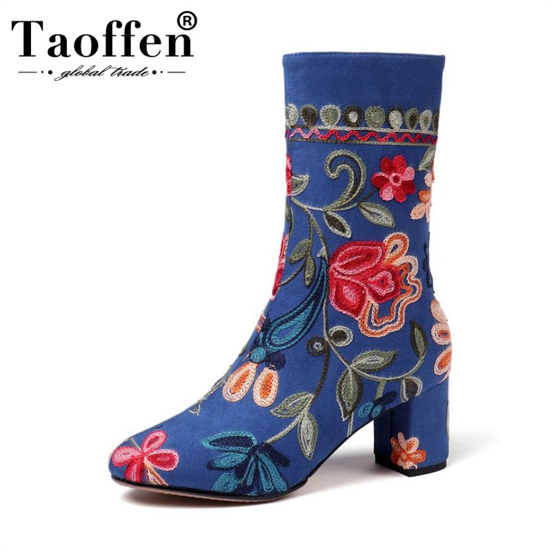 TAOFFEN جديد التطريز النساء منتصف العجل الأحذية الجانب سستة كعب مربع الأحذية الأزياء العرقية نمط احذية نسائية حجم 34 43-في أحذية منتصف ربلة الساق من أحذية على  مجموعة 1